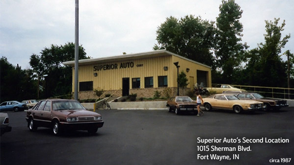 Superior Auto's second location on Sherman BLVD in Fort Wayne, Indiana. (circa 1987)