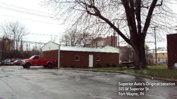 Superior Auto's original location on Superior Street in Fort Wayne, Indiana.